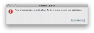 Android Launch Error